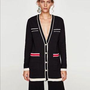 zara knit long cardigan sweater size m
